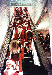 Santa on escalator
